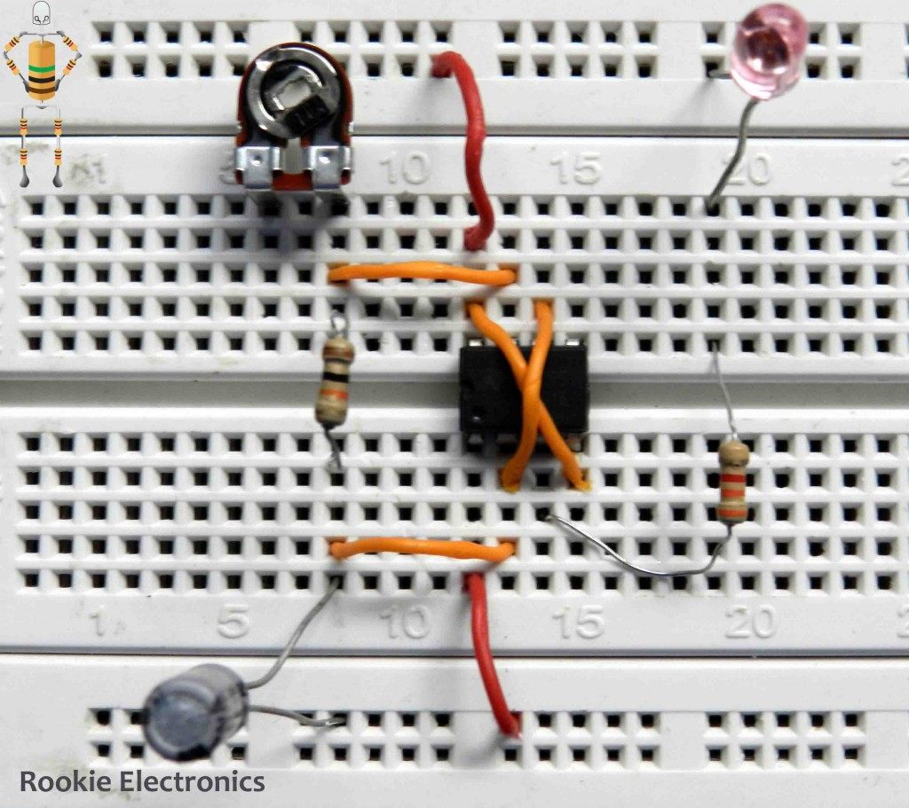 Flashing Led Using 555 Timer Rookie Electronics Circuit Bright 100k Potentiometer 9v Battery Diagrams Bread Board Arrangements